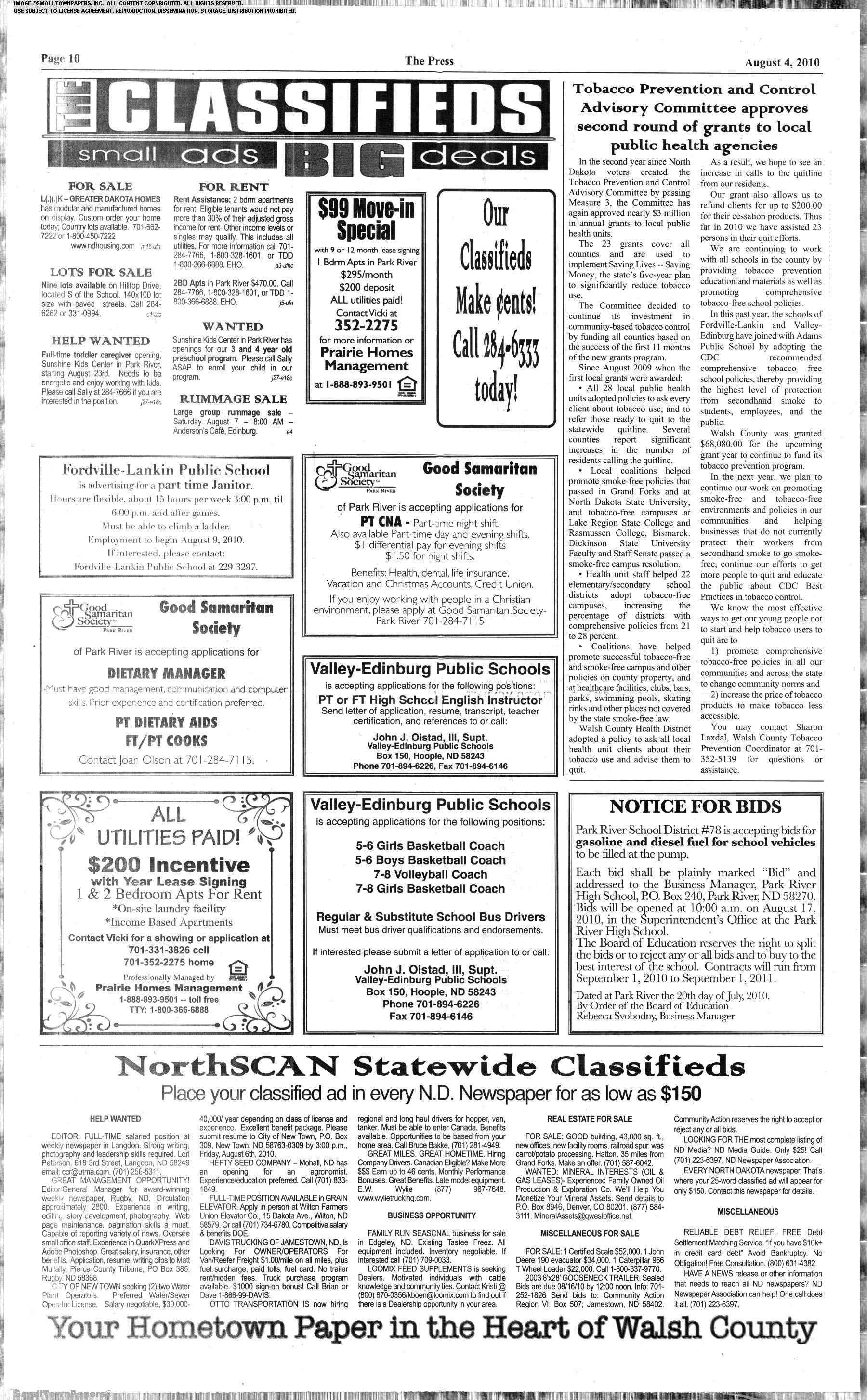 Walsh County Press August 3, 2010: Page 10